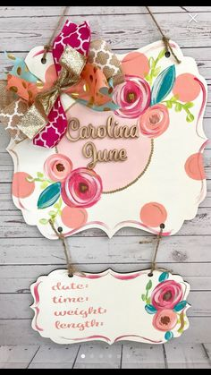 Coral and pink Baby door hanger hospital announcement birth stats gift ideas personalized nursery Hospital Door Hangers, Baby Door Hangers, Wooden Door Hangers, Hospital Signs, Birth Announcement Sign, Birth Announcements, Girl Decor, B & B, Baby Gifts