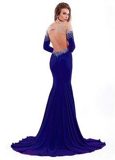 Charming Backless Tulle & Chiffon Bateau Neckline Floor-length Sheath Prom Dress