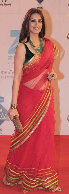 Pinterest @Littlehub || Six yard- The Saree ❤•。*゚|| Sonali bendre in a bright color saree