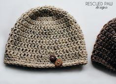 FREE Crochet Oatmeal Button Hat Pattern via Rescued Paw Designs