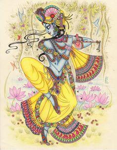 "Canvas Painting R/canvases – NAME: ""Krishna"" painting Krishna Drawing, Krishna Painting, Krishna Art, Krishna Images, Hare Krishna, Krishna Leela, Shiva Art, Krishna Pictures, Madhubani Art"