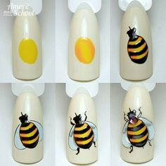 Animal Nail Designs, Nail Art Designs, Bee Nails, Butterfly Nail Art, Nail Art Techniques, Finger Nail Art, Nail Shop, Uv Gel Nails, Nail Art Galleries