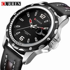 19e8d9bfbd4 Watches Men Fashion Casual Quartz Display Date Clock Leather Strap Man  Sports Wristwatch Waterproof Male Clock