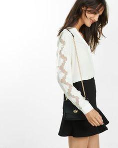 scalloped lace sleeve shirt