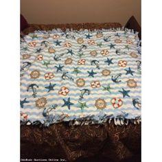 Baby Blue Nautical Fleece Baby to Toddler Blanket Quilt