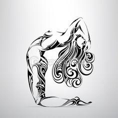 Girl the gymnast in ornament — Vector de stock #67895433