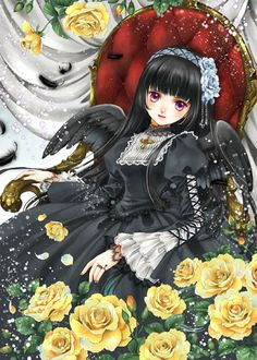 Angel princess with long black hair, violet eyes, black gothic lolita dress, feather wings, & yellow flowers by manga artist Shiitake.