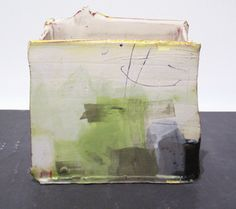 'Vessel with Green II' - Inspired by mark-making and painting, he takes a relaxed, direct approach. He aims to create a sense of drama that is fresh and exciting, exploring vibrant colour compositions and exploiting the gestural qualities of fluid brush marks and soft clay. His ceramics are made with red earthenware clay and are usually wheel thrown and altered, or constructed from soft slabs and then painted with coloured slips, stains, oxides and glaze. - www.kelliemillerarts.com