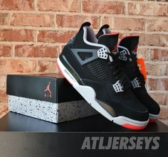 27e47fb52d3d85 2019 Nike Air Jordan 4 Retro OG BRED Black Red Cement Grey Men GS  shoes