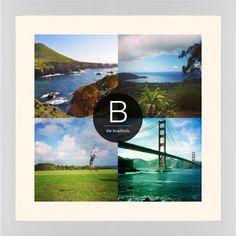 Bold Monogram Framed Print, White, Contemporary, White, Cream, Single piece, 16 x 16 inches, Black