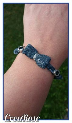 Spijkerstof strik armband by CreaRose