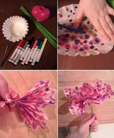 DIY: coffee filter flowers!  Cute idea for Valentines day craft