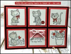 Handmade birthday card featuring Stampin& Up!& Pretty Kitty Stamp Set and the Layering Squares Framelits, includes details on how you can create this card Dog Cards, Kids Cards, Pretty Cats, Pretty Kitty, Mini Albums, Hand Made Greeting Cards, Stamping Up Cards, Scrapbooking, Animal Cards