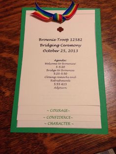Brownie Bridging Ceremony Stacked program Each page with Girl Scout mission: Courage Confidence Character by Lindsay Rinehart Girl Scout Swap, Girl Scout Leader, Girl Scout Troop, Boy Scouts, Girl Scout Bridging, Girl Scout Activities, Family Activities, Girl Scout Juniors, Daisy Girl Scouts