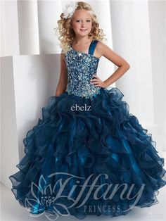 Navy Blue Flower Girl Dress Kids Princess Pageant Wedding Graduation Gowns Stock  | eBay
