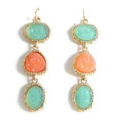 Colorblocked Tangerine Mint Trio Druzy Stone by BlueTwinSpur, $25.99 - great color combo