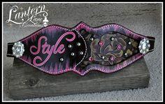 Custom bronc noseband, lettering in pink, vintage rose floral hide inlay  with pink swarovski crystals