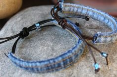 Denim Bracelet with Blue Glass Beads Your Choice by AllintheJeans Diy Denim Bracelets, Jewelry Bracelets, Zipper Jewelry, Fabric Jewelry, Denim Armband, Fabric Crafts, Sewing Crafts, Recycled Denim, Blue Jeans