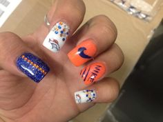 Denver Broncos Nails- Denver Broncos Nails, Football Nails, Gold Acrylic Nails, Nail Art, Soccer Nails, Nail Arts, Nail Art Designs