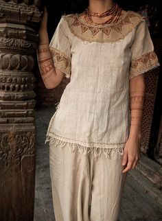 Tribal Native american Gypsy Hemp Shirt Natural Earthy Cream with Embroidery Folk Ethnic