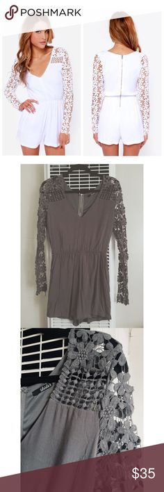 NWOT Lulu's Crochet What? Romper In GRAY Color NWOT. Size M. Color: Gray. Floral crochet lace blooms across sheer long sleeves and up to the decolletage, while soft woven fabric frames a V neckline. An elasticized waist adds feminine shape above attached flowy shorts with diagonal front pockets. Exposed back zipper/hook clasp. Lined. Self: 100% Rayon. Contrast: 100% Cotton. Hand Wash Cold. Lulu's Pants Jumpsuits & Rompers