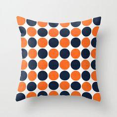 Navy and Orange Dots Throw Pillow - Geometric Pillow - Modern Decor - Throw Pillow - Urban Decor - by Beverly LeFevre