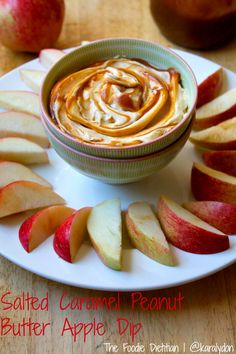A creamy apple dip fit for fall made with just three ingredients: Greek yogurt, peanut butter, and salted caramel. Salted Caramel Peanut Butter Apple Dip | The Foodie Dietitian @karalydon