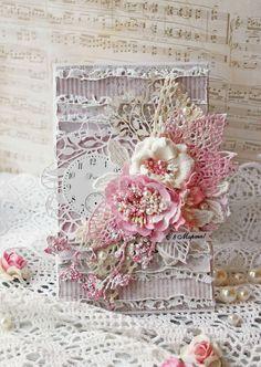 Vintage Cafe Card Challenge: Цветной марафон-2. Римейк. Цвет - розовый, коралловый, малиновый