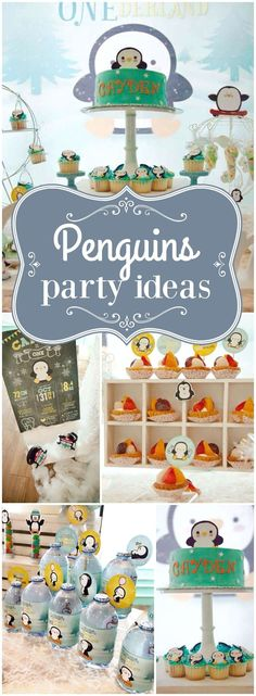 You have to see this winter ONEderland first birthday party with cute penguins! See more party ideas at CatchMyParty.com!
