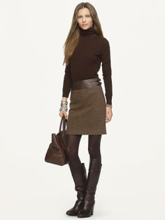 Ralph Lauren Black Label - Leather-Trimmed Kieron Skirt LUV the whole outfit, including jewelry Fashion Moda, Work Fashion, Fashion Looks, Womens Fashion, Fashion 2018, Mode Outfits, Casual Outfits, Fashion Outfits, Fashion Tights