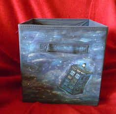 Items similar to Doctor Who Tardis In Space Fabric Bin Hand Painted Bedroom Teen dorm room Storage cube Home decor on Etsy - Ridge. Doctor Who Tardis, Doctor Who Craft, Space Fabric, Fabric Bins, Dorm Room Storage, Cube Storage, Painting Glass Jars, Diy Painting, Doctor Who Nursery