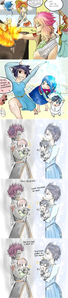 Gray and juvias kid in the snowman outfit was soooo cute!!!!! Lol with natsu having to ask to live with gray!
