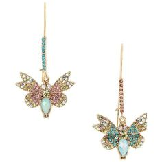 Betsey Johnson Buzz Off Pave Butterfly Mismatch Earrings ($45) ❤ liked on Polyvore featuring jewelry, earrings, no color, multi colored earrings, betsey johnson jewelry, butterfly earrings, colorful earrings and monarch butterfly earrings