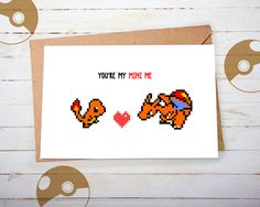 """Brother Birthday, Sister Birthday, Friendship Card, Best Friend Card, Sibling Birthday, Pokemon Card, Charmander Card, """"You're My Mini Me"""" by playerNo2 on Etsy"""
