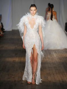 Berta Spring/Summer 2019 Collection scallop lace sequin wrap wedding dress with detachable feather cape Sexy Dresses, Fashion Dresses, Prom Dresses, Wedding Attire, Wedding Gowns, Wrap Wedding Dress, Bridal Fashion Week, Beautiful Gowns, Bridal Style