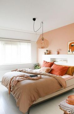 Cozy Bedroom, Bedroom Decor, Bedroom Ideas, Wall Decor, Bedroom Colors, Bedroom Orange, Minimalist Bedroom, New Room, Home Interior