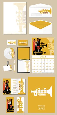 Jazz Festival identity with quirky illustrations and a childish yet fitting look to it.