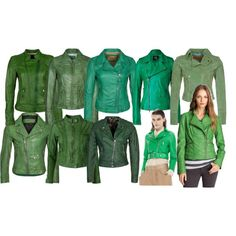 """Green Biker Jackets Collection"" by laura-blakney on Polyvore Green Leather Biker Jackets Collection  shades of green, casual, edgy, funky, studs, zippers, outerwear, spring, winter, fall, coats"