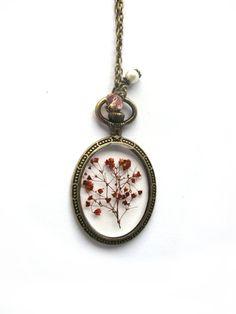 Orange Baby Breath Resin Necklace - Real flowers in resin  in open back Bezel, Pressed Flower Jewelry - Resin Necklace - Resin Jewelry
