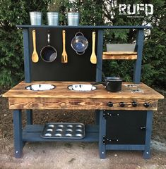 mud kitchen painted frame different heights age .- mud kitchen painted frame different heights age & fully assembled) mud kitchen age & pressure treated comes fully - Diy Mud Kitchen, Mud Kitchen For Kids, Kitchen Paint, Childs Kitchen, Kitchen Tips, Kitchen Ideas, Kids Outdoor Play, Backyard For Kids, Outdoor Play Kitchen