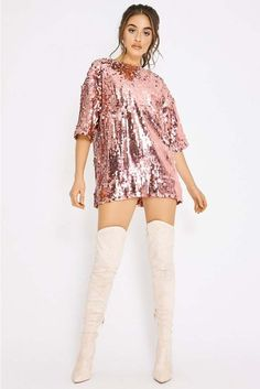 Women S Fashion Designer Brands Kpop Fashion Outfits, Stage Outfits, Fashion Dresses, Classy Outfits, Chic Outfits, Beautiful Outfits, Oversized T Shirt Dress, Sequin T Shirt Dress, Pink Sequin Dress