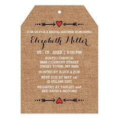 Pink Sweethearts & Arrows Burlap Bridal Shower Card  Charming but simple. Just the right combination of elegant and casual, with a touch of sweet ol' farmyard charm. The perfect theme for a variety of different styles of wedding: shabby chic, outdoors, heart-and-arrow style romance, or just for that sweet, rustic feel. It's original, and uniquely your own.