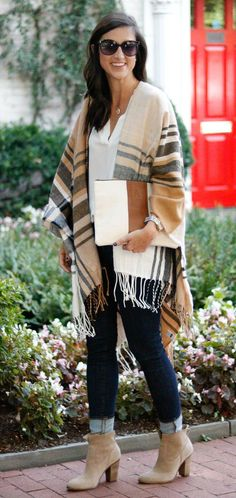 Fall Style | Plaid Poncho | Plaid Cape