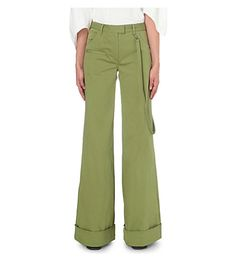 ROSIE ASSOULIN Wide-Leg Stretch-Cotton Trousers. #rosieassoulin #cloth #trousers