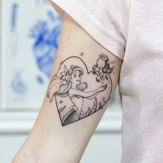 Disney Tattoos 43394 Disney tattoos ideas in photos, Little Mermaid heart tattoo with Flounder, ideas and tattoo designs to inspire you Mama Tattoos, Cool Tattoos, Ankle Tattoos, Arrow Tattoos, Friend Tattoos, Little Mermaid Tattoos, The Little Mermaid, Homemade Tattoos, Herz Tattoo