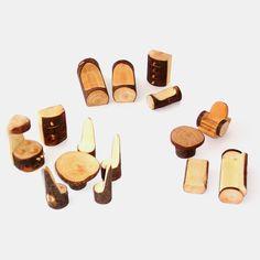 Puppenstubenmöbel aus Holz: Rindenmöbel-Set (15-teilig) | Echtkind