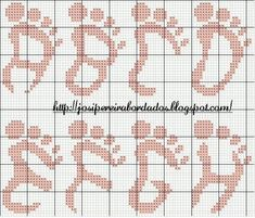 Baby feet alpha 1 of 4 Cross Stitch Letters, Beaded Cross Stitch, Cross Stitch Baby, Cross Stitch Charts, Cross Stitch Designs, Cross Stitch Embroidery, Stitch Patterns, Plastic Canvas Letters, Crochet Letters