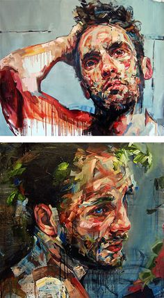 Artist: Andrew Salgado {contemporary figurative #expressionist art vibrant #impasto brush stroke male head abstract face texture grunge paintings} Trust !! andrewsalgado.com