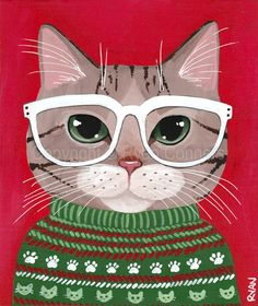 Brown Tabby Kitty Ugly Christmas Sweater Original Cat Folk Art Acrylic Painting by Ryan Conners (Kilkenny Cat Art) Christmas Drawing, Christmas Cats, Ugly Christmas Sweater, Christmas Outfits, Ugly Sweater, Folk Art Acrylic Paint, Frida Art, Photo Chat, Ecole Art