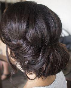 Low bun, soft up style, curls